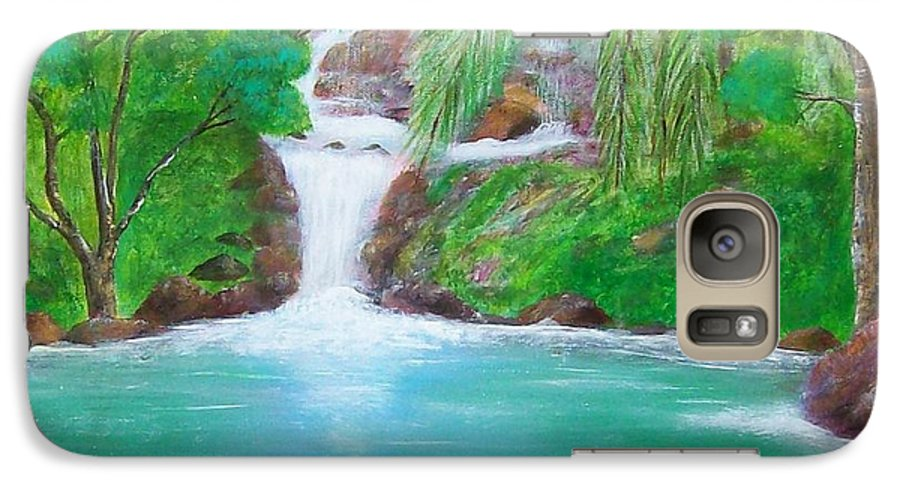 Waterfall Galaxy S7 Case featuring the painting Waterfall by Tony Rodriguez