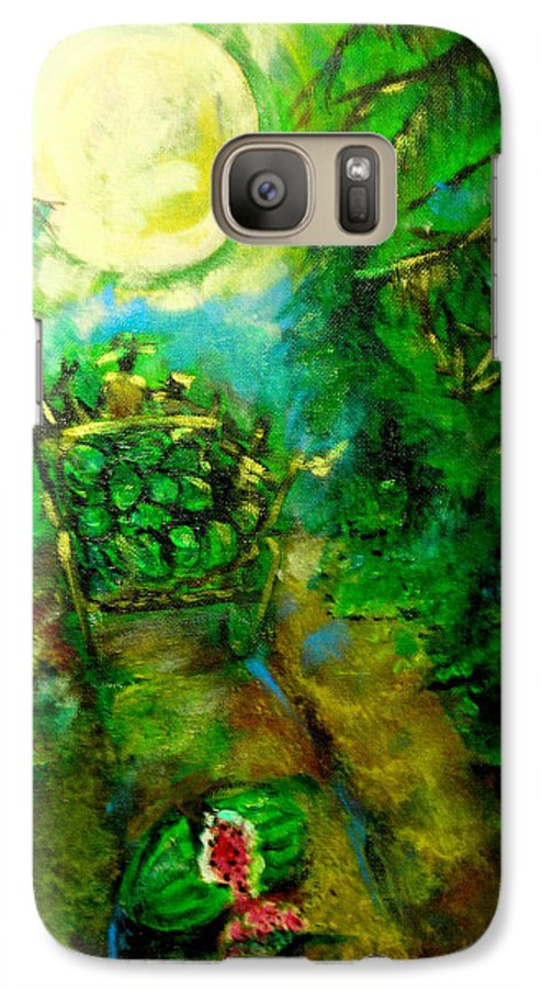 Watermelon Wagon Moon Galaxy S7 Case featuring the painting Watermelon Wagon Moon by Seth Weaver