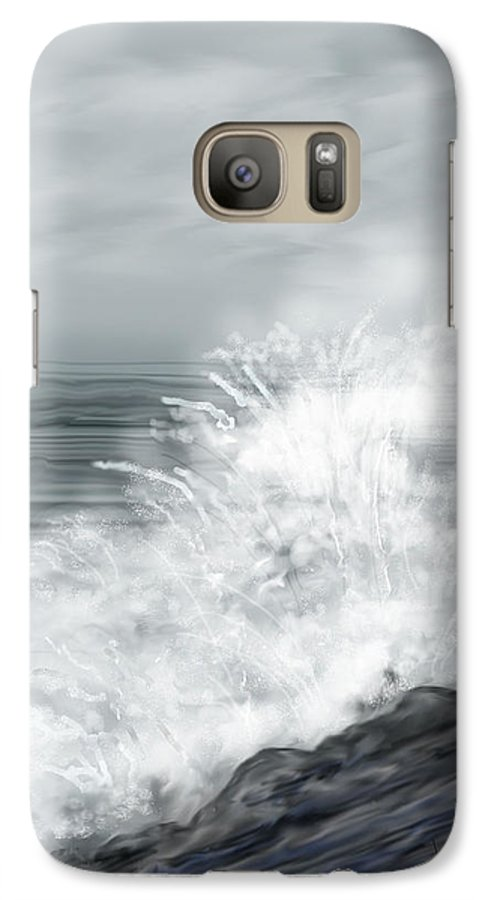 Seascape Galaxy S7 Case featuring the painting Waves Crashing The Rocks In Ireland by Anne Norskog