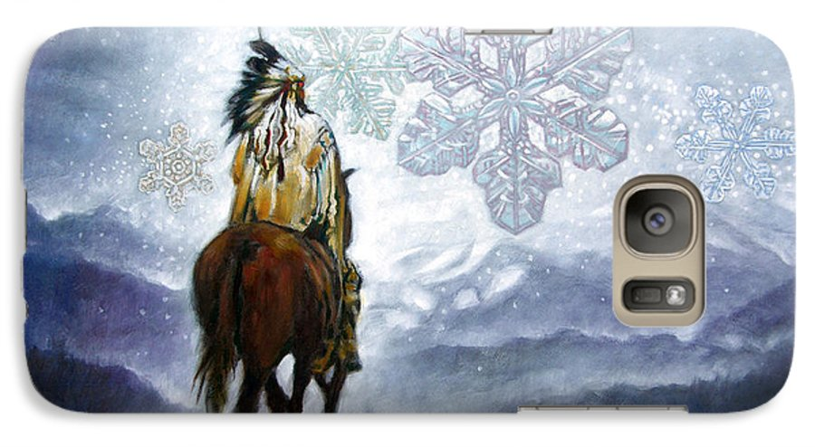 American Indian Galaxy S7 Case featuring the painting We Vanish Like The Snow Flake by John Lautermilch