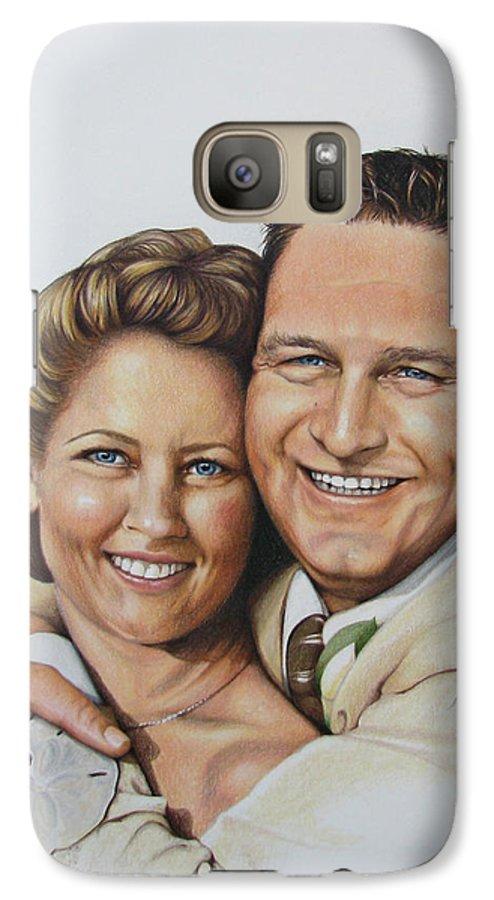 Wedding Portraits Galaxy S7 Case featuring the drawing Wedding Portrait Jeremy N Katie by Joan Garcia