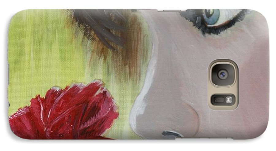 Romance Galaxy S7 Case featuring the painting Wedding Rose by J Bauer