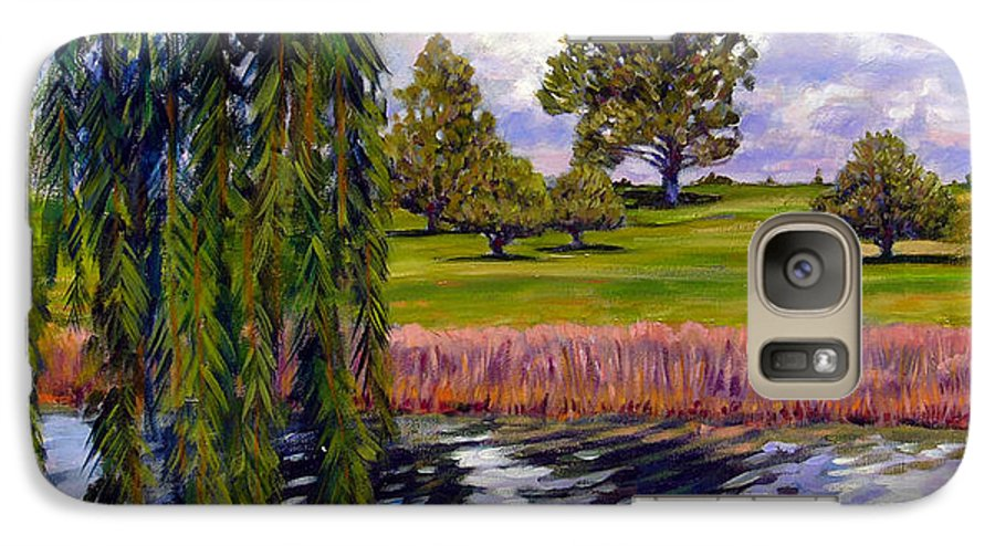 Landscape Galaxy S7 Case featuring the painting Weeping Willow - Brush Colorado by John Lautermilch