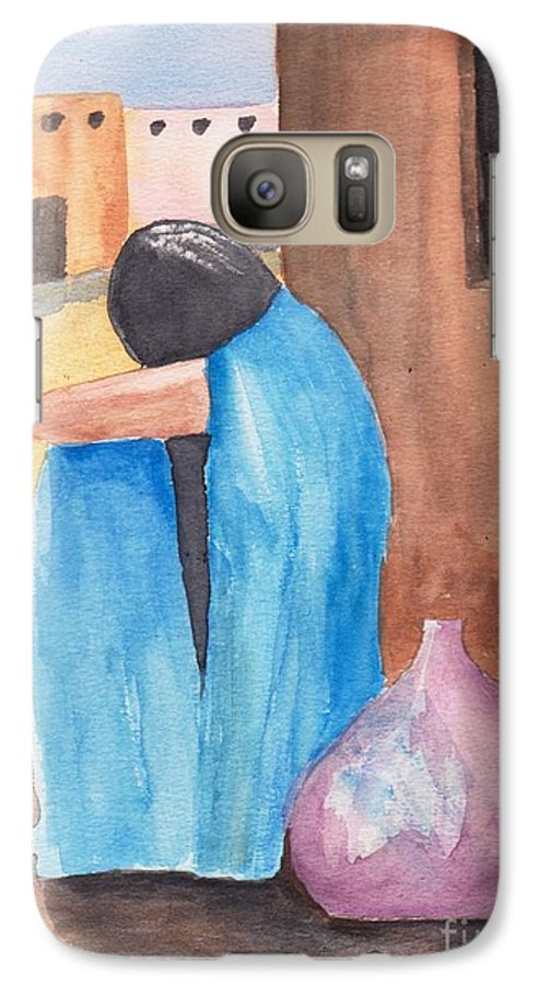 Southwest Galaxy S7 Case featuring the painting Weeping Woman by Susan Kubes