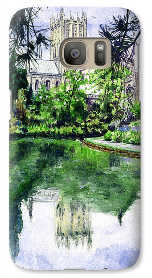 Wells Galaxy S7 Case featuring the painting Wells Cathedral by John D Benson