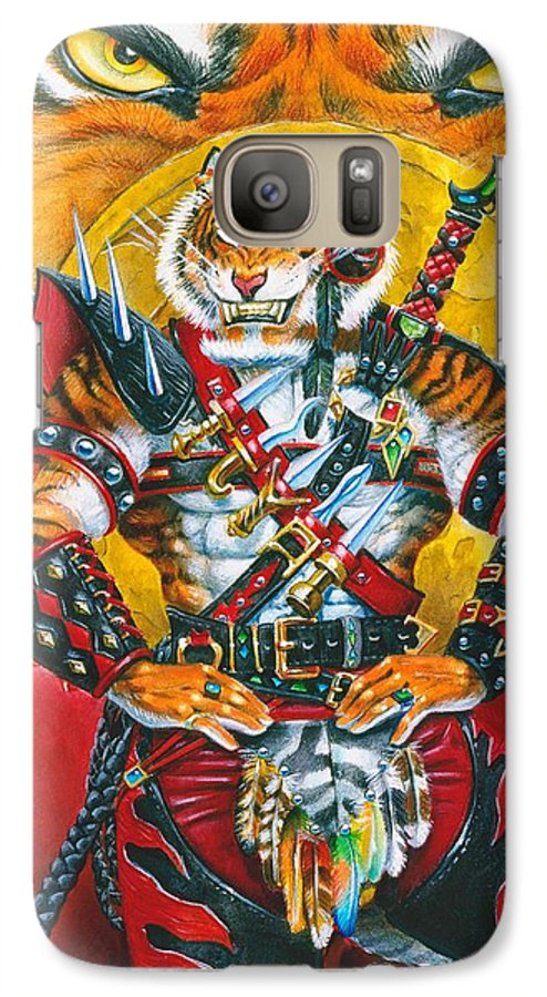 Fantasy Galaxy S7 Case featuring the painting Werecat Warrior by Melissa A Benson