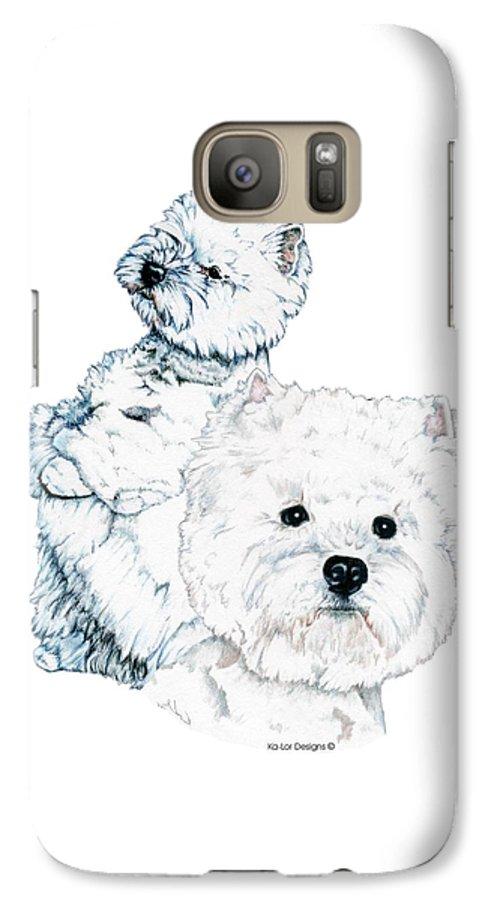 West Highland White Terrier Galaxy S7 Case featuring the drawing West Highland White Terriers by Kathleen Sepulveda