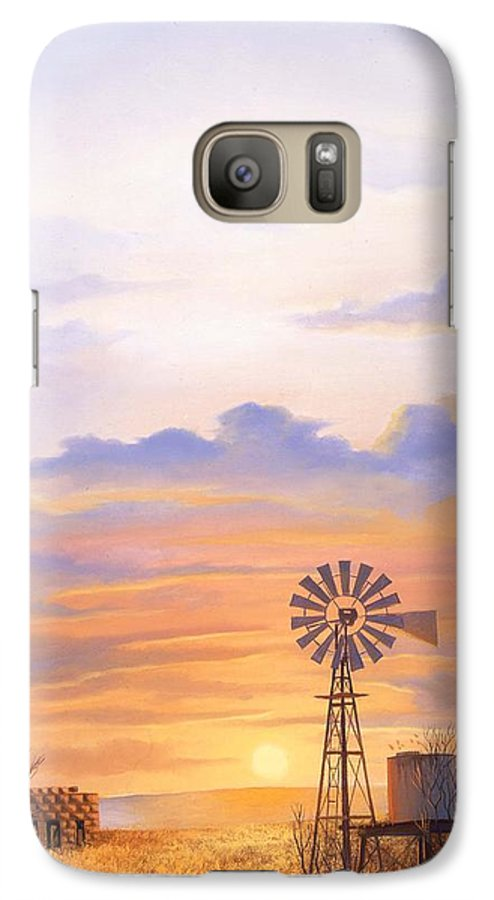 Windmill Galaxy S7 Case featuring the painting West Texas Sundown by Howard Dubois