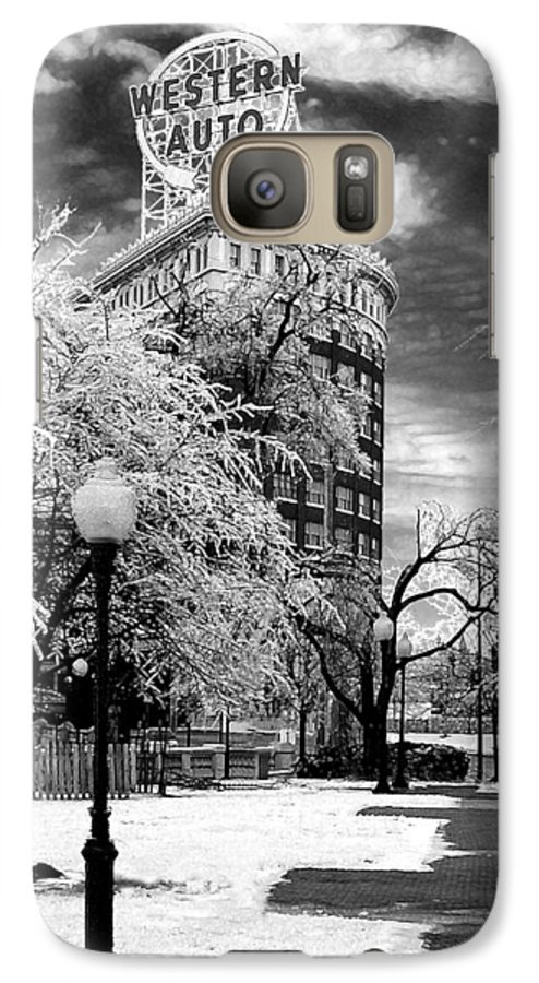 Western Auto Kansas City Galaxy S7 Case featuring the photograph Western Auto In Winter by Steve Karol