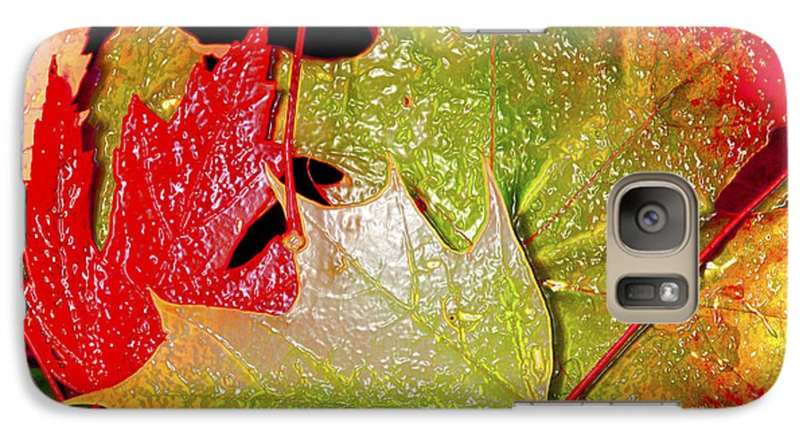 Leaves Galaxy S7 Case featuring the photograph Wet Leaves Of Fall by Larry Keahey