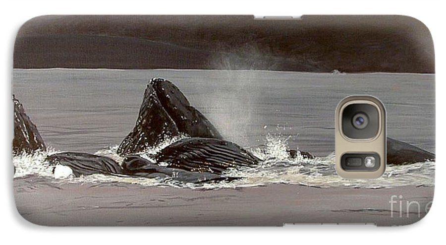 Whale Galaxy S7 Case featuring the painting Whales Feeding by Shawn Stallings