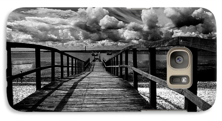Southend On Sea Wharf Clouds Beach Sand Galaxy S7 Case featuring the photograph Wharf At Southend On Sea by Avalon Fine Art Photography