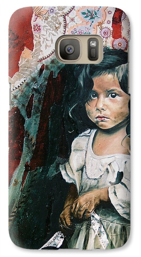 Asian Girl Galaxy S7 Case featuring the painting What Is My Worth by Teresa Carter