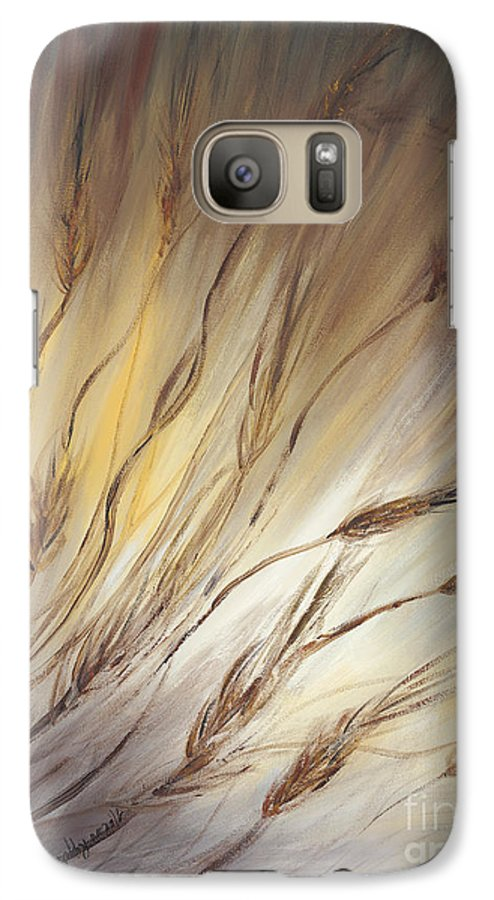 Wheat Galaxy S7 Case featuring the painting Wheat In The Wind by Nadine Rippelmeyer