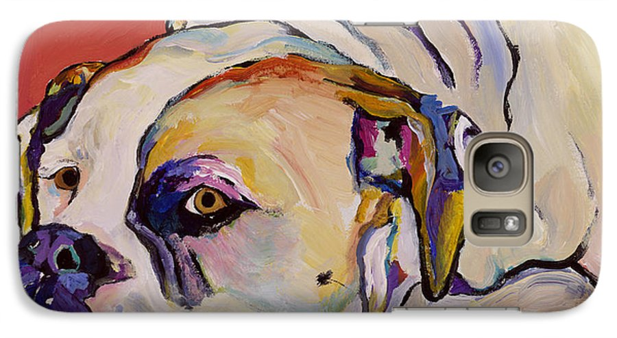American Bulldog Galaxy S7 Case featuring the painting Where Is My Dinner by Pat Saunders-White