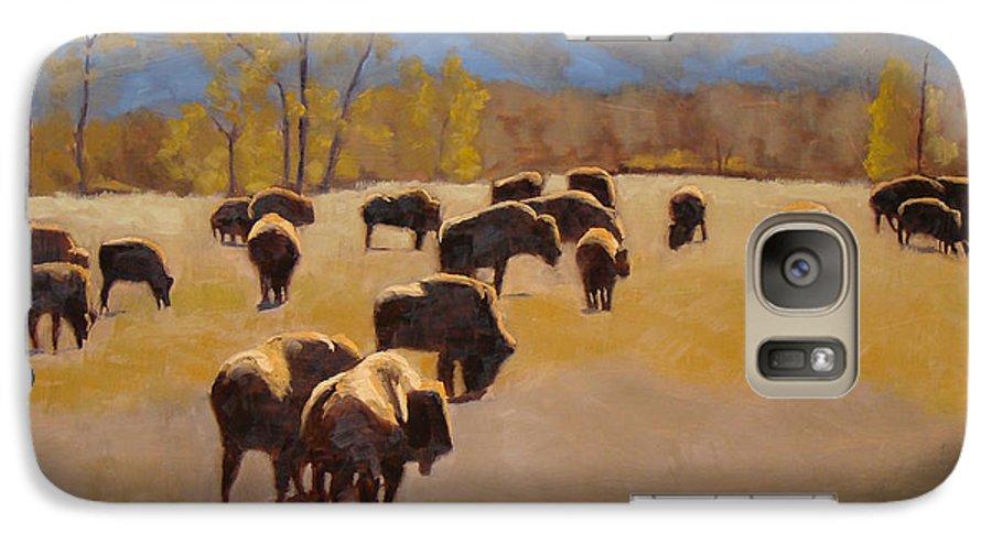 Buffalo Galaxy S7 Case featuring the painting Where The Buffalo Roam by Tate Hamilton