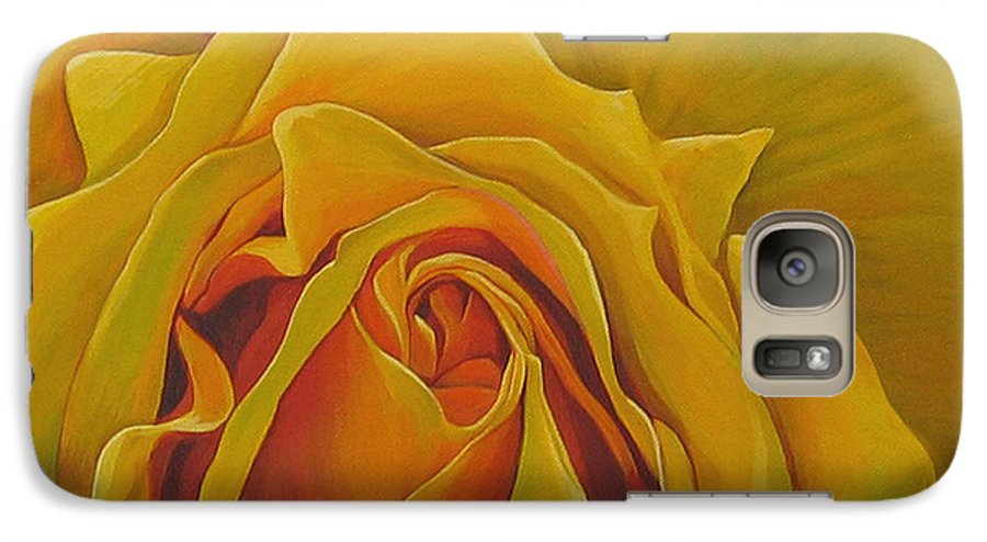 Yellow Rose Galaxy S7 Case featuring the painting Where The Rose Is Sown by Hunter Jay