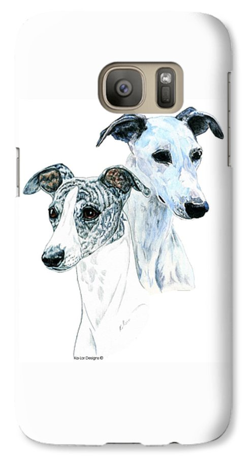 Whippet Galaxy S7 Case featuring the painting Whippet Pair by Kathleen Sepulveda