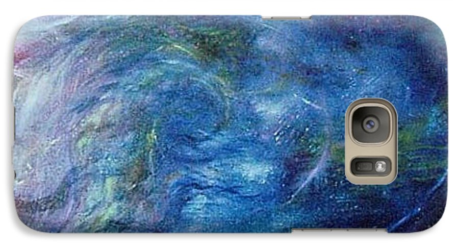 Abstract Galaxy S7 Case featuring the painting Whispers In A Sea Of Blue by Nancy Mueller
