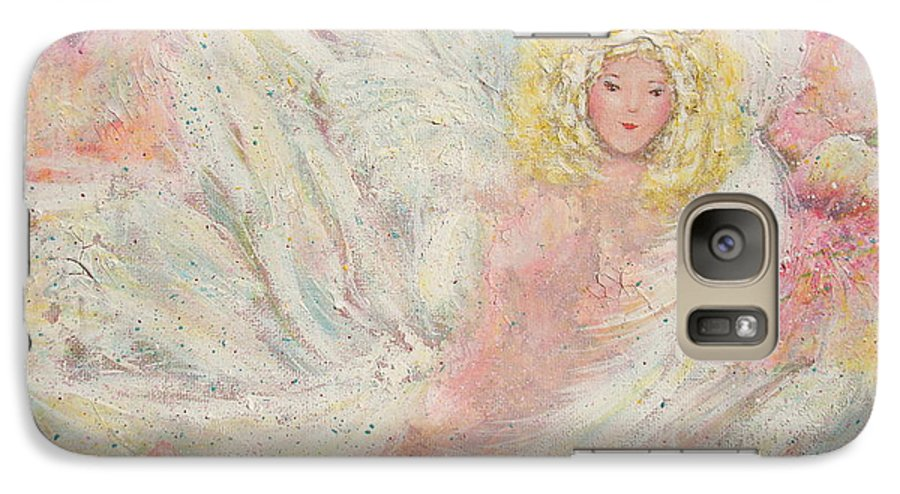 Angel Galaxy S7 Case featuring the painting White Feathers Secret Garden Angel 4 by Natalie Holland