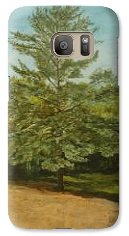 Pine Tree Galaxy S7 Case featuring the painting White Lake by Leah Tomaino