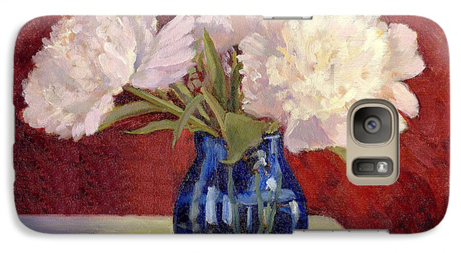 Peonies Galaxy S7 Case featuring the painting White Peonies by Keith Burgess