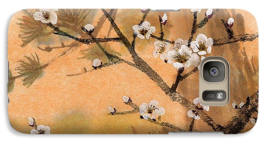 White Plum Blossoms Galaxy S7 Case featuring the painting White Plum Blossoms With Pine Tree by Eileen Fong