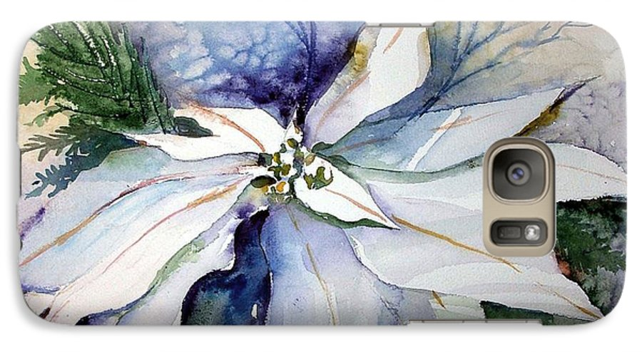 Floral Galaxy S7 Case featuring the painting White Poinsettia by Mindy Newman