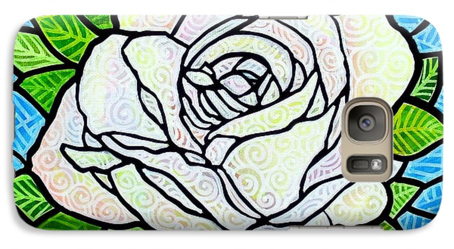 White Galaxy S7 Case featuring the painting White Rose by Jim Harris