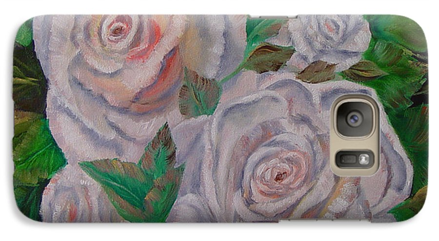 Roses Galaxy S7 Case featuring the painting White Roses by Quwatha Valentine