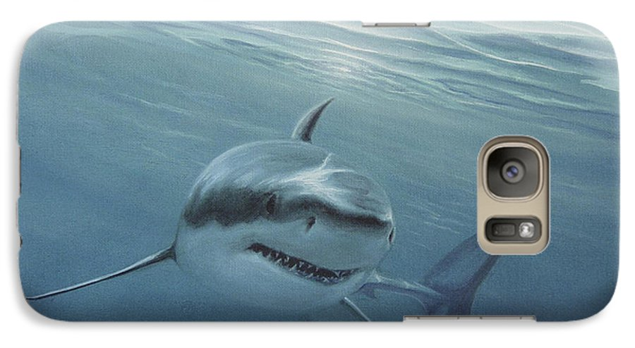 Shark Galaxy S7 Case featuring the painting White Shark by Angel Ortiz