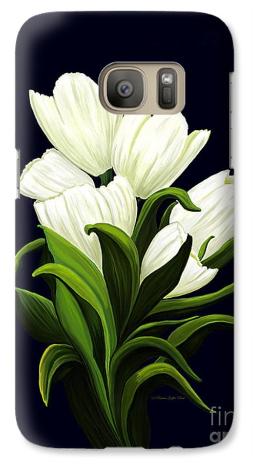 Mixed Media Galaxy S7 Case featuring the painting White Tulips by Patricia Griffin Brett