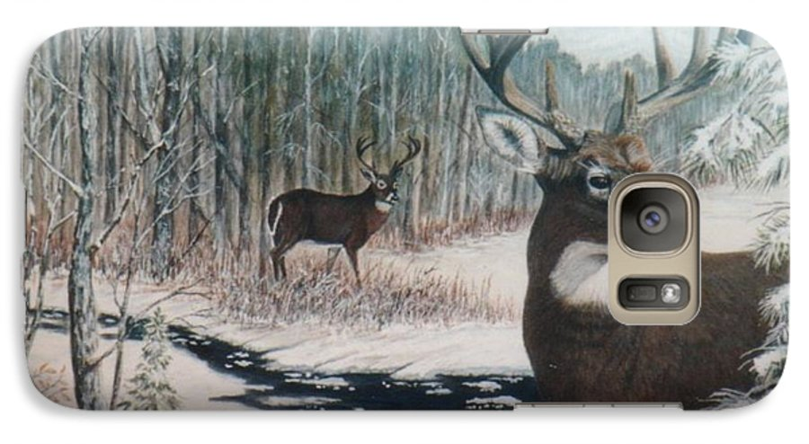 Deer; Snow; Creek Galaxy S7 Case featuring the painting Whitetail Deer by Ben Kiger