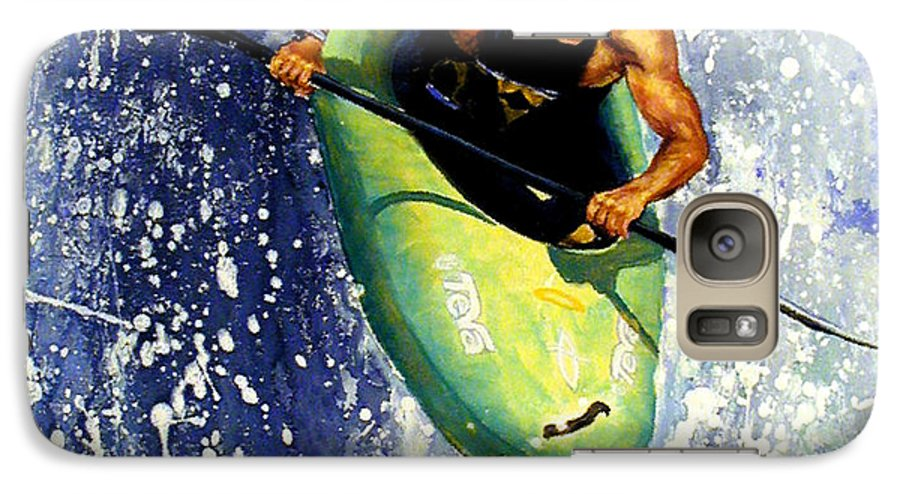 Kayaker Galaxy S7 Case featuring the painting Whitewater Kayaker by Lynee Sapere