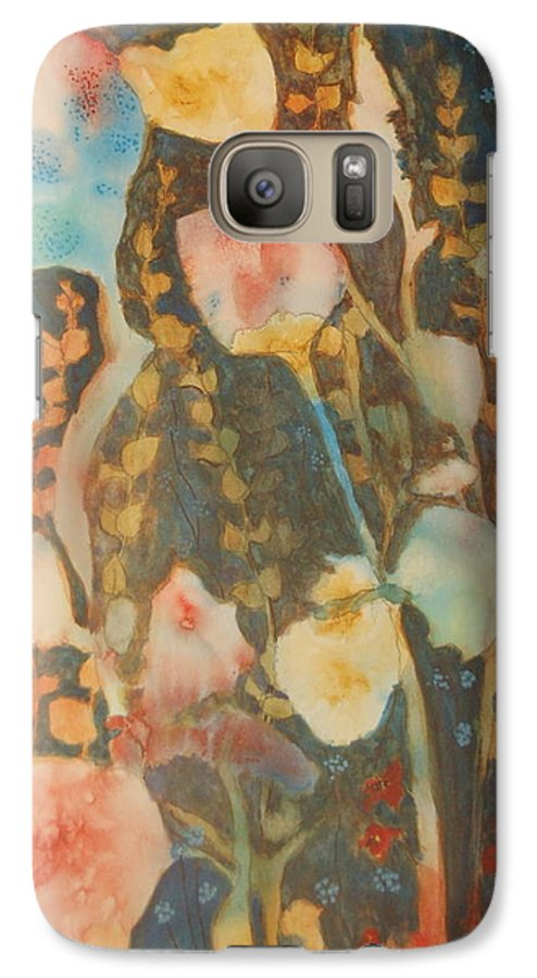 Flower Abstract Galaxy S7 Case featuring the painting wild flowers in the wind I by Henny Dagenais