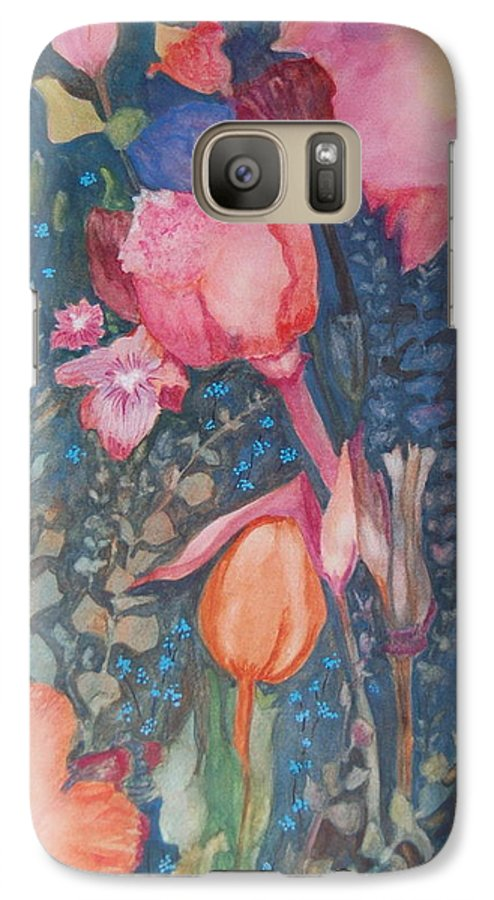 Flower Abstract Galaxy S7 Case featuring the painting Wild Flowers In The Wind II by Henny Dagenais
