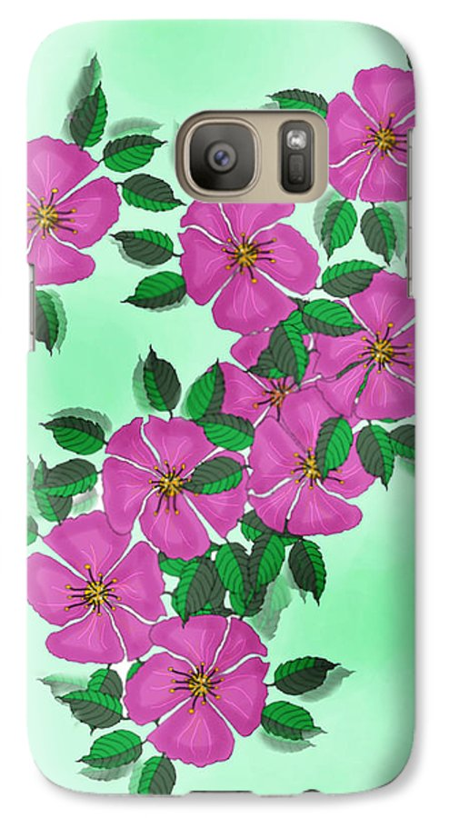 Floral Galaxy S7 Case featuring the painting Wild Roses by Anne Norskog