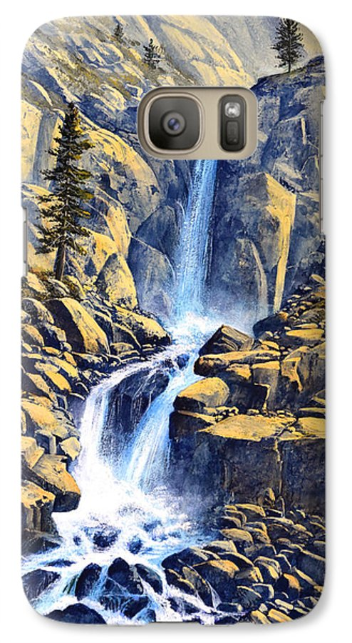 Wilderness Waterfall Galaxy S7 Case featuring the painting Wilderness Waterfall by Frank Wilson