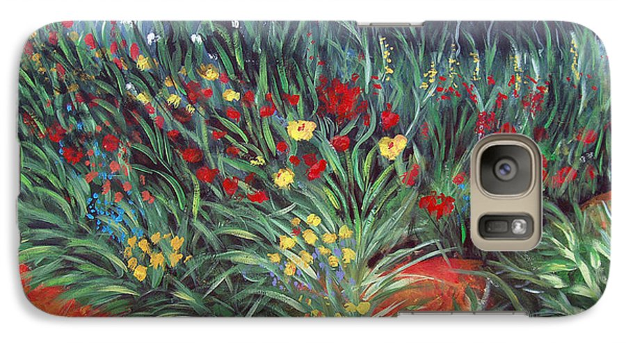 Landscape Galaxy S7 Case featuring the painting Wildflower Garden 2 by Nancy Mueller