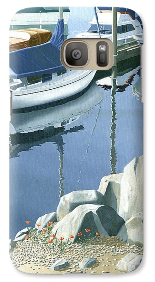 Sailboat Galaxy S7 Case featuring the painting Wildflowers On The Breakwater by Gary Giacomelli