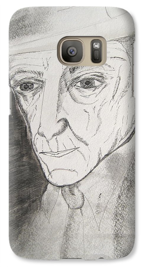 23 Author Black Burroughs Enigma Ink Man Music Painting Portrait Revolutionary Watercolor William Galaxy S7 Case featuring the painting William S. Burroughs by Darkest Artist