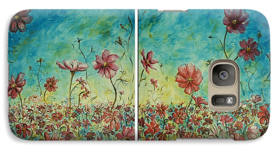 Flowers Galaxy S7 Case featuring the painting Wind Dancers by Nik Helbig