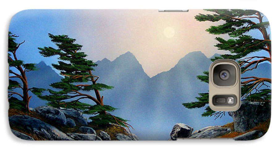 Windblown Pines Galaxy S7 Case featuring the painting Windblown Pines by Frank Wilson