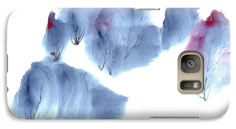 Waving Trees In A Forest On A Windy Day. This Is A Contemporary Chinese Ink And Color On Rice Paper Painting With Simple Zen Style Brush Strokes.  Galaxy S7 Case featuring the painting Windy Forest by Mui-Joo Wee