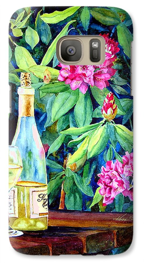 Rhododendron Galaxy S7 Case featuring the painting Wine And Rhodies by Karen Stark