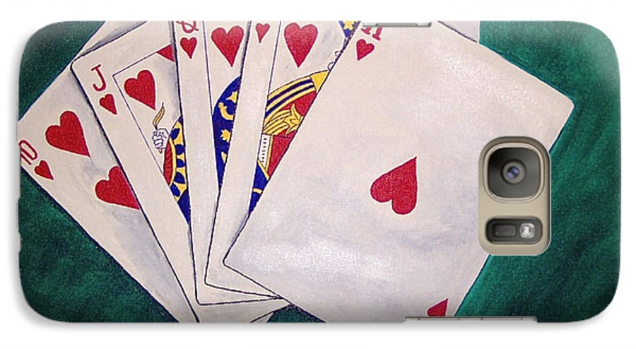 Playing Cards Wining Hand Role Flush Galaxy S7 Case featuring the painting Wining Hand 2 by Herschel Fall
