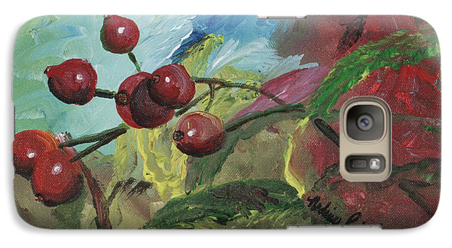 Berries Galaxy S7 Case featuring the painting Winter Berries by Nadine Rippelmeyer