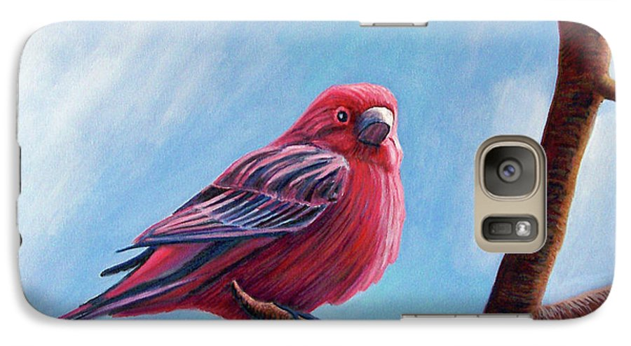 Bird Galaxy S7 Case featuring the painting Winter Finch by Brian Commerford