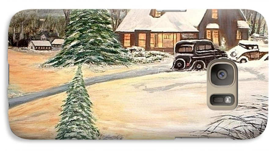 Landscape Home Trees Church Winter Galaxy S7 Case featuring the painting Winter Home by Kenneth LePoidevin