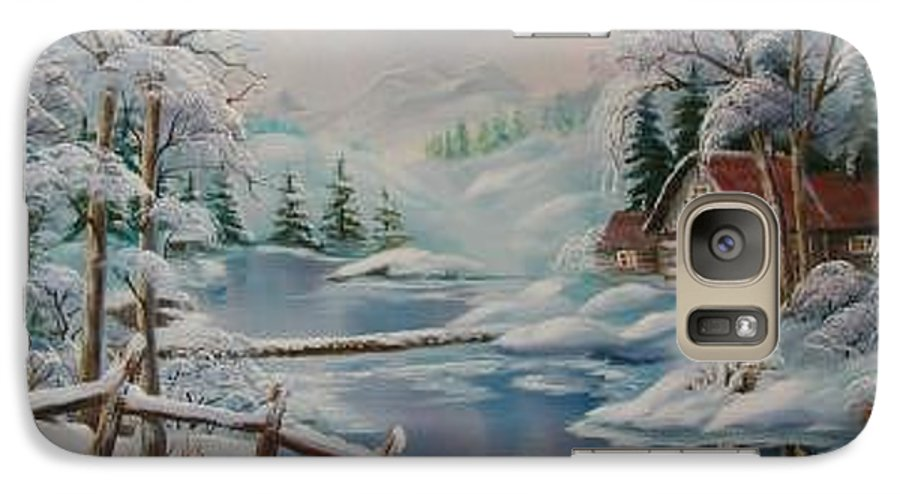 Winter Scapes Galaxy S7 Case featuring the painting Winter In The Valley by Irene Clarke